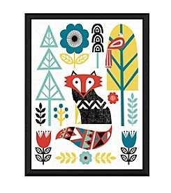 Greenleaf Art Folk Lodge Fox Framed Canvas Wall Art