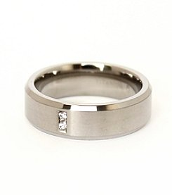 Men's Brushed Titanium Cubic Zirconia Ring