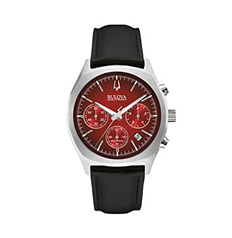 "Bulova Men's Accutron II Black Leather Strap/Red Dial ""Surveyor"" Chronograph Watch"