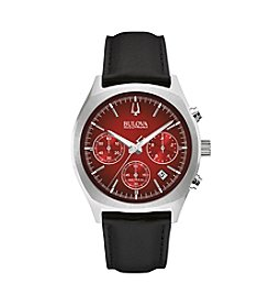 Bulova Men's Accutron II Black Leather Strap/Red Dial