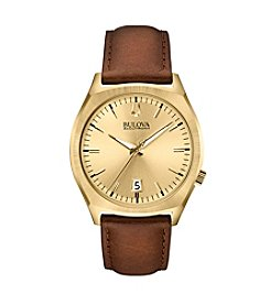 Bulova Men's Accutron II Brown Leather Strap/Goldtone Dial