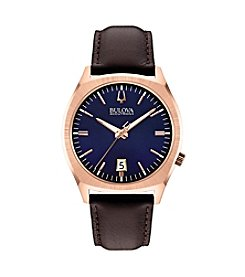Bulova Men's Accutron II Brown Leather Strap/Rose Goldtone Case