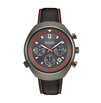 "Bulova Men's Accutron II Black Leather Strap/Red Dial ""Lobster"" Chronograph Watch"