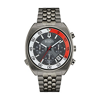 "Bulova Men's Accutron II Black Dial/Gunmetal IP Case ""Snorkel"" Chronograph Watch"