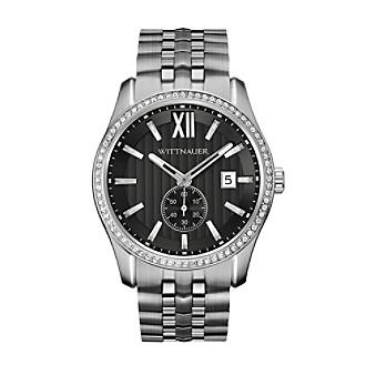 Wittnauer Men's Silvertone Black Crystal Bracelet Watch WN30