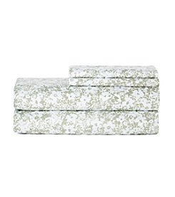 LivingQuarters Easy Care Green Floral Microfiber Sheet Set