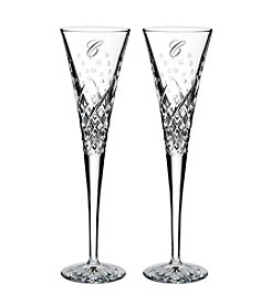 Waterford® Happy Celebrations Set of 2 Monogrammed Champagne Toasting Flutes