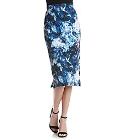 KIIND OF Abstract Floral Print Midi Skirt