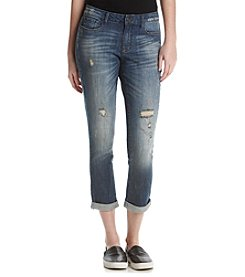 Suede Destructed Relaxed Skinny Jeans