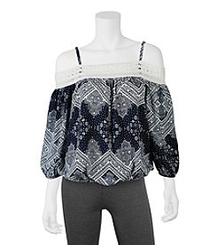 A. Byer Printed Off The Shoulder Top