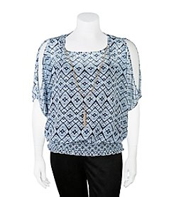 A. Byer Plus Size Cold Shoulder Necklace Top