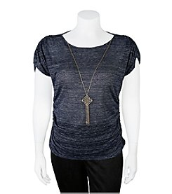 A. Byer Plus Size Side Ruched Necklace Top