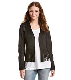 Sequin Hearts® Faux Suede Moto Fringe Jacket