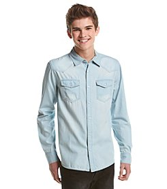 Lazer™ Men's Long Sleeve Chambray Button Down Shirt