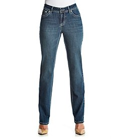 Earl Jean® Petites' Twig Patch Bling Pocket Straight Jeans