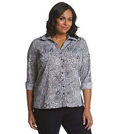Notations® Plus Size Paisley Print Button Up Shirt