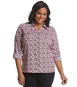 Notations® Plus Size Printed Button Up Shirt