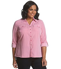 Notations® Plus Size Stripe Button Up Shirt
