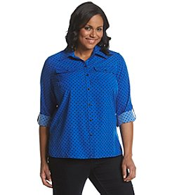 Notations® Plus Size Dot Print Button Up Shirt