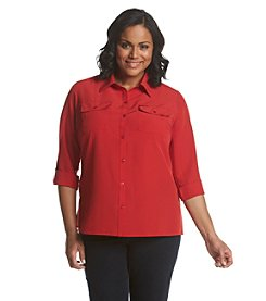 Notations® Plus Size Solid Button Up Shirt