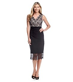Sangria™ V-Neck Lace Top Pintuck Sheath Dress