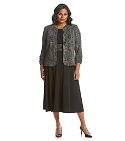 Jessica Howard® Plus Size Sequin Glitter Jacket Dress