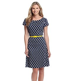 Connected® Fit And Flare Grid Patterned Dress