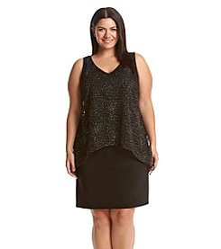 S.L. Fashions Plus Size Glitter Mesh Popover Dress