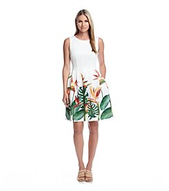 Calvin Klein Tropical Scuba Fit And Flare Dress