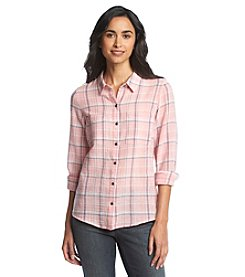Ruff Hewn Plaid Gauze Button Down Top