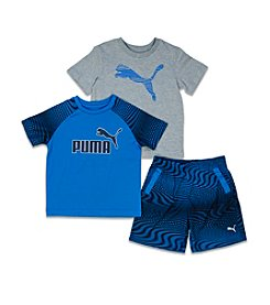PUMA® Boys' 2T-7 3-Piece Logo Tees And Shorts Set