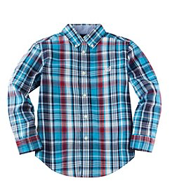 Chaps® Boys' 2T-14 Long Sleeve Plaid Button Down Shirt