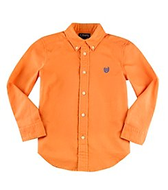 Chaps® Boys' 2T-18 Long Sleeve Solid Oxford Button Down Shirt
