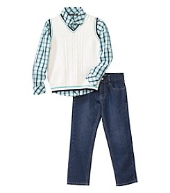 DKNY® Boys' 2T-7 3-Piece Sweater Vest, Button Down Shirt And Pants Set