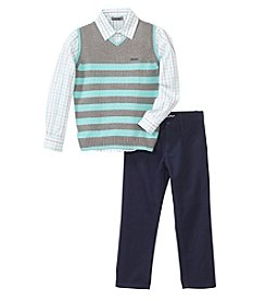 DKNY® Boys' 2T-7 3-Piece Sweater Vest, Button Down Shirt And Pants Set