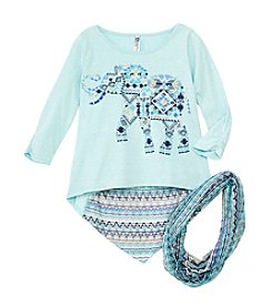 Beautees Girls' 7-16 2-Piece Elephant Shirt And Scarf Set