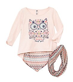 Beautees Girls' 7-16 2-Piece Owl Shirt And Scarf Set