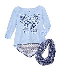 Beautees Girls' 7-16 2-Piece Butterfly Shirt And Scarf Set