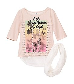 Beautees Girls' 7-16 2-Piece Butterfly Graphic Shirt And Scarf Set