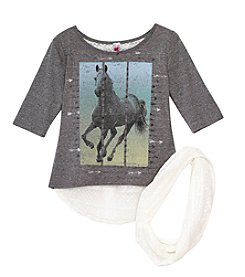 Beautees Girls' 7-16 2-Piece Horse Graphic Shirt And Scarf Set
