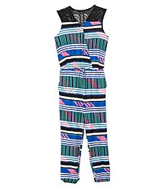 Jessica Simpson Girls' 7-16 Multiple Stripe Jumpsuit