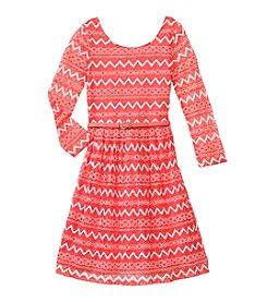 Speechless® Girls' 7-16 Chevron Printed Dress With Belt