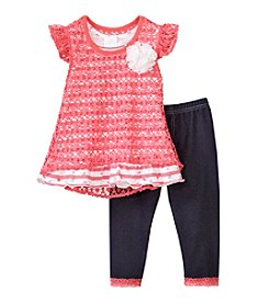 Nannette® Girls' 2T-6X 2-Piece Crochet Dress And Leggings Set