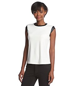 Marc New York Capsleeve Top With Faux Leather Trim