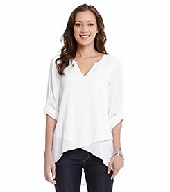Karen Kane® Split Neck Asymmetric Top