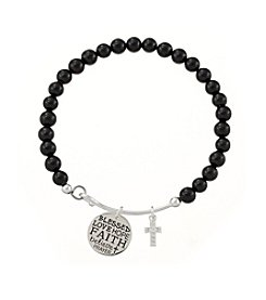 Marsala® Onyx Adjustable Charmed Faith Bracelet