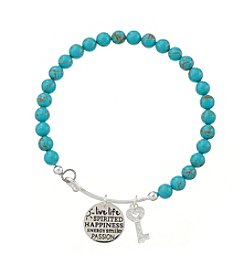 Marsala® Reconstituted Turquoise Adjustable Charmed Happiness Bracelet