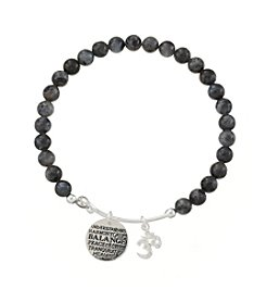 Marsala® Gray Agate Adjustable Charmed Balance Charm Bracelet