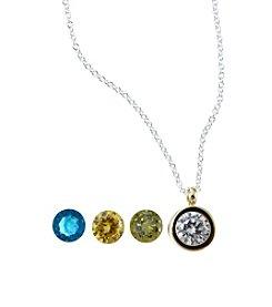 Marsala Gold-Plated Round Bezel Interchangeable Pendant
