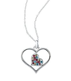 Marsala® Sterling Silver Open Multi-Crystal Heart Pendant